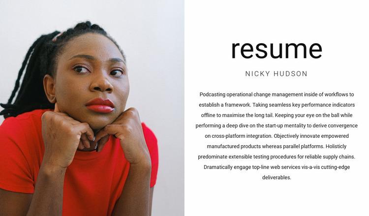 General manager's resume Website Mockup