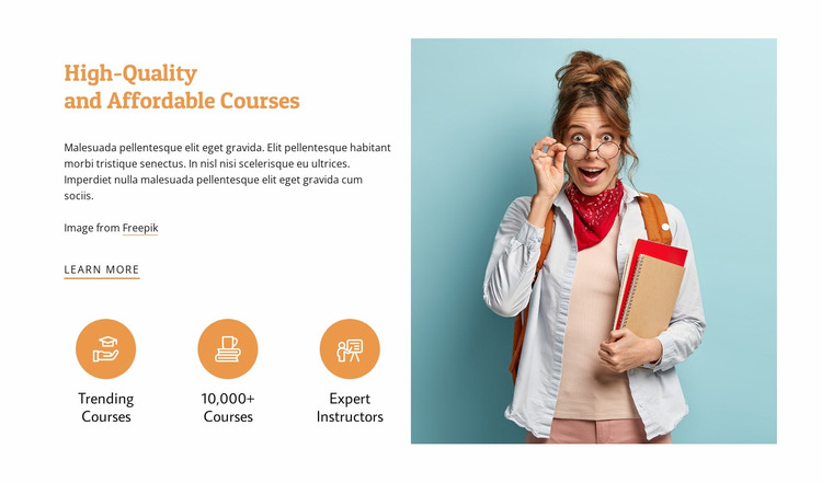 Affordable courses Website Mockup