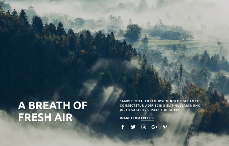 Breath of fresh air One Page Template