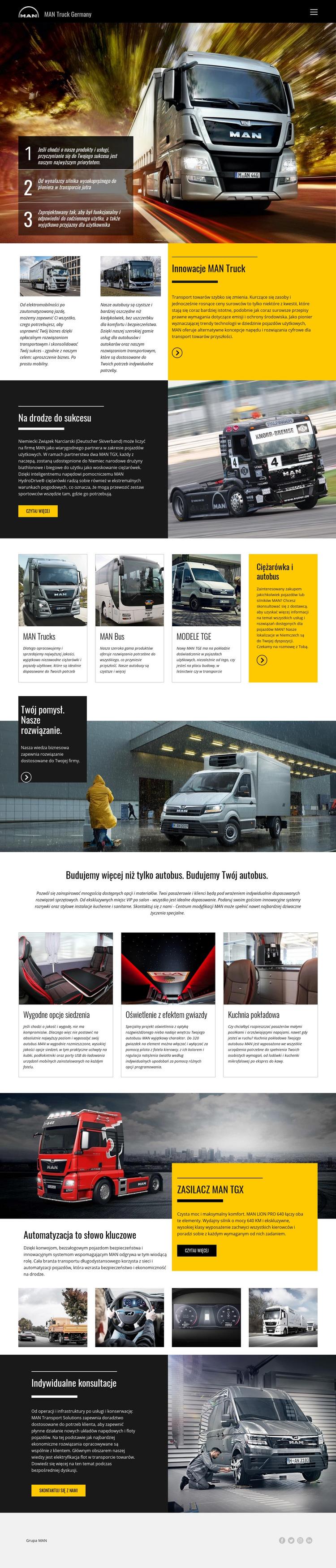 Ciężarówki man do transportu Szablon witryny sieci Web