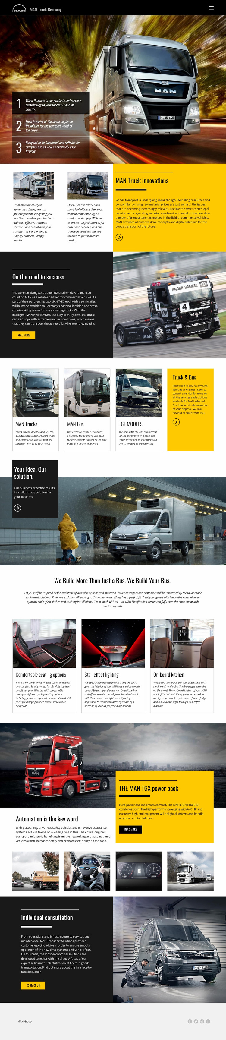 Man trucks for transportation Web Page Design