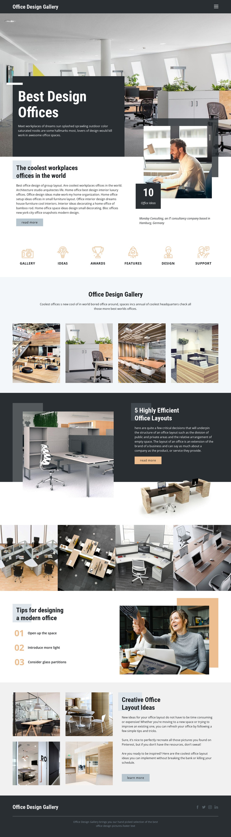 Best Design Offices One Page Template