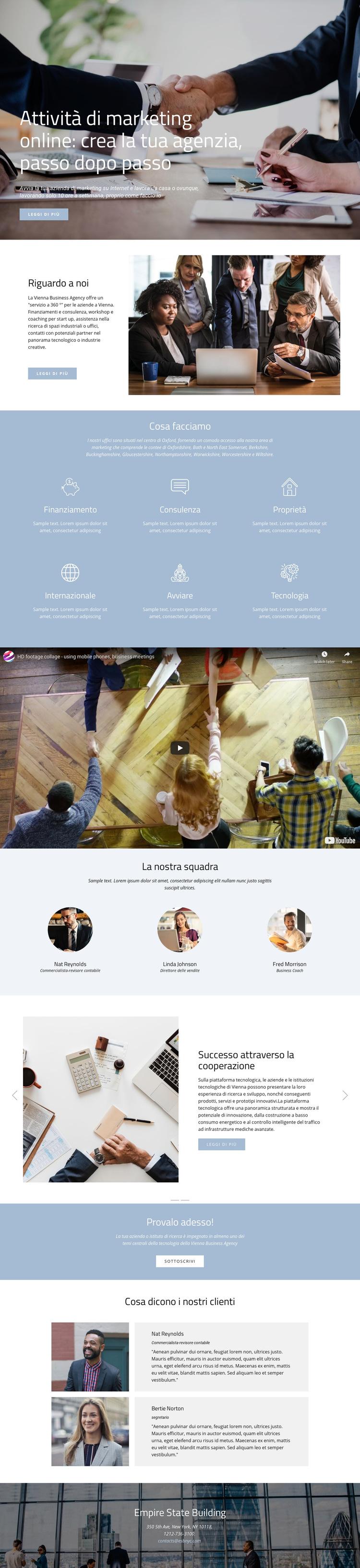 Crea la tua agenzia Modello di sito Web