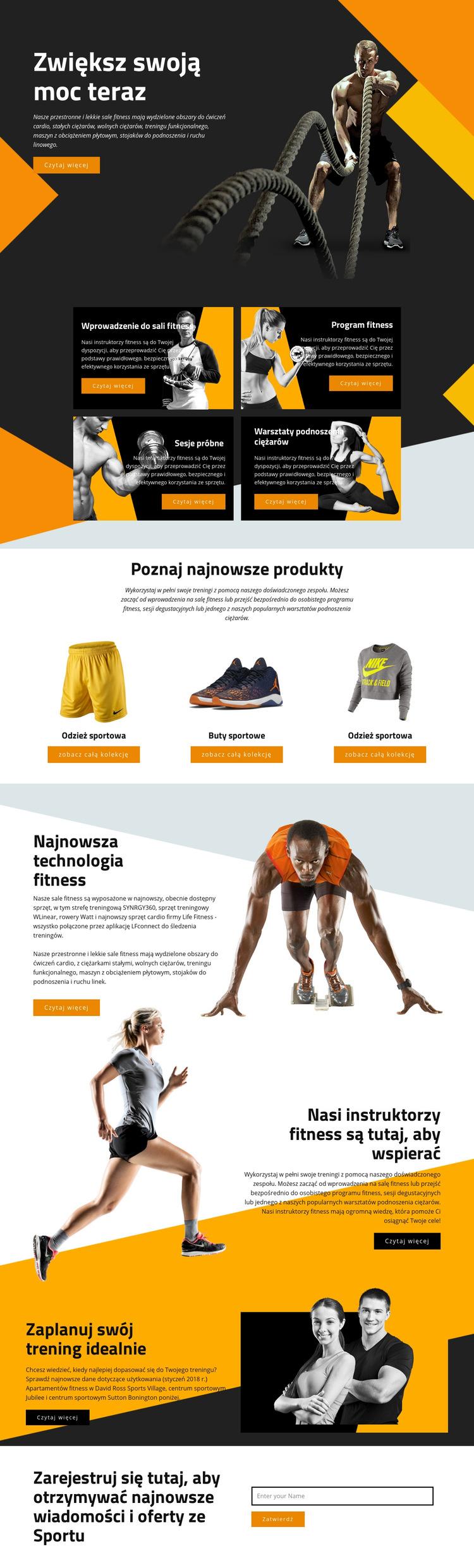 Zwiększ swoją moc dzięki sportom Szablon witryny sieci Web