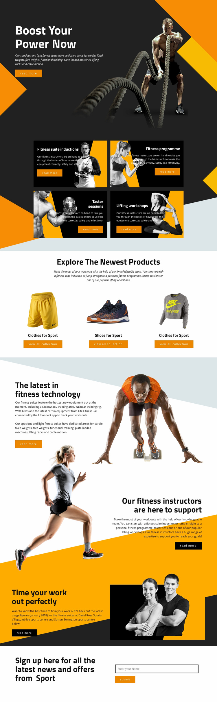 Boost your power with sports Landing Page