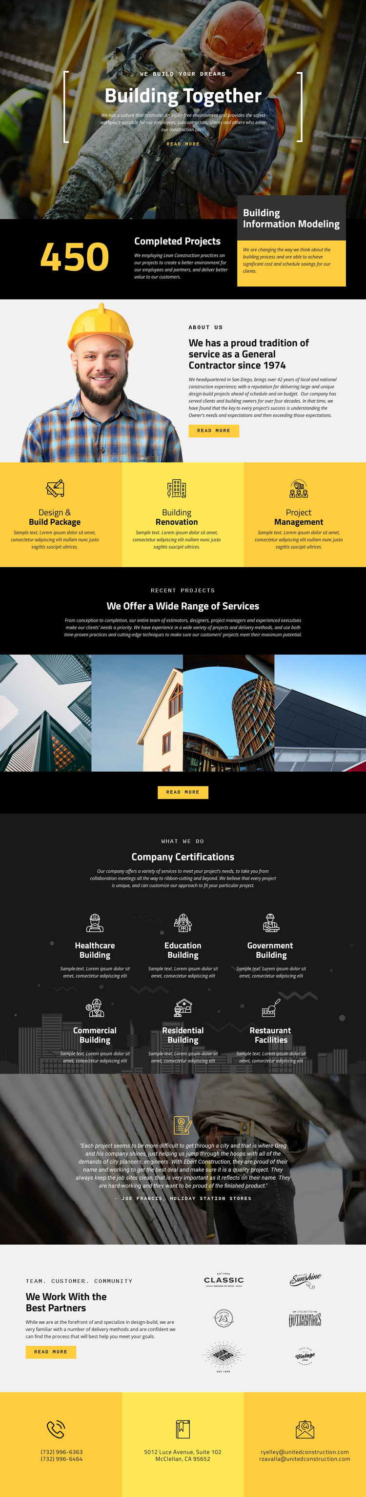 Building constructions Website Mockup