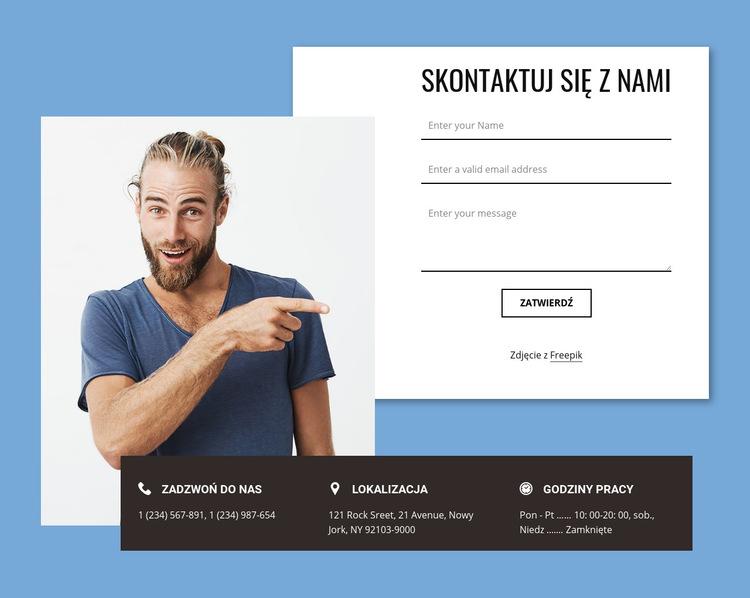 Formularz kontaktowy z zachodzącymi na siebie elementami Szablon witryny sieci Web