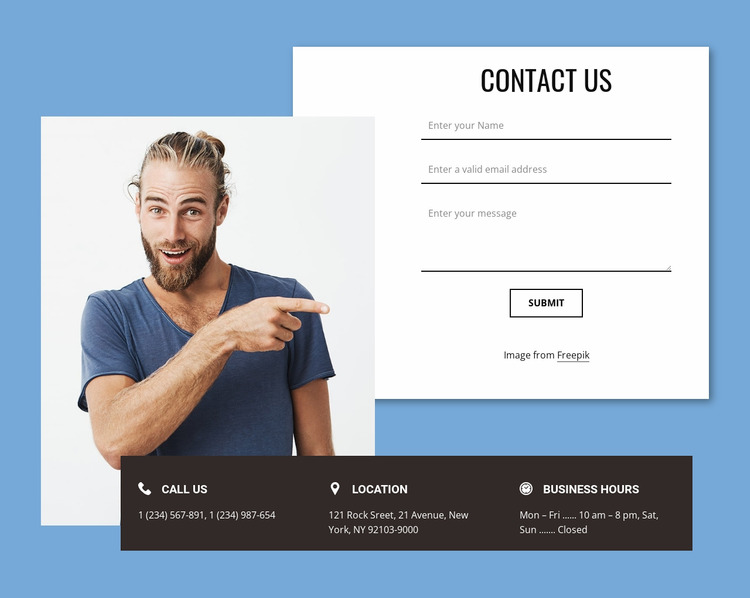 Contact form with overlapping elements WordPress Website Builder
