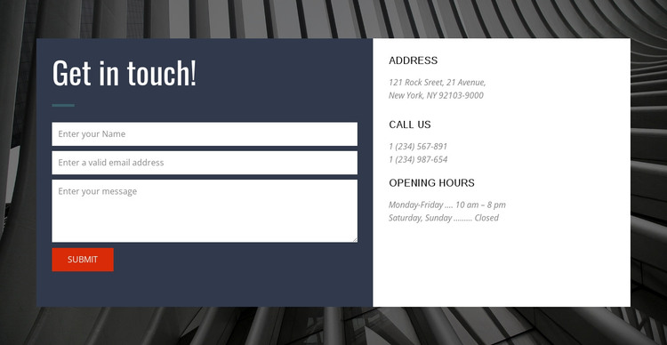 Contact form with background Web Design