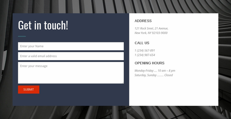 Contact form with background Website Builder