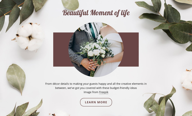 Beautiful moment of life Website Mockup