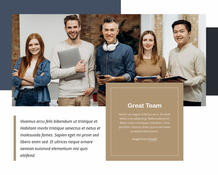 Great team Landing Page