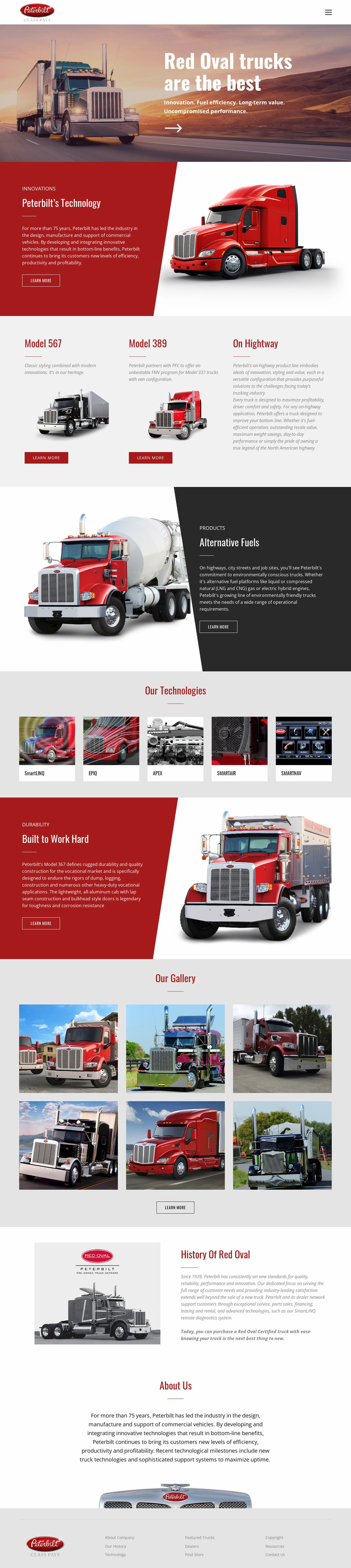 Red oval truck transportaion Website Mockup