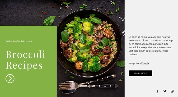Broccoli recipes Web Page Design