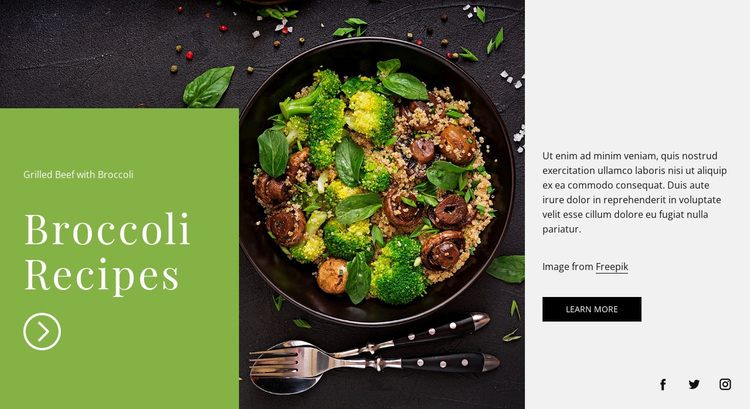 Broccoli recipes Website Design