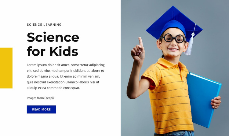 Science for kids course WordPress Website Builder