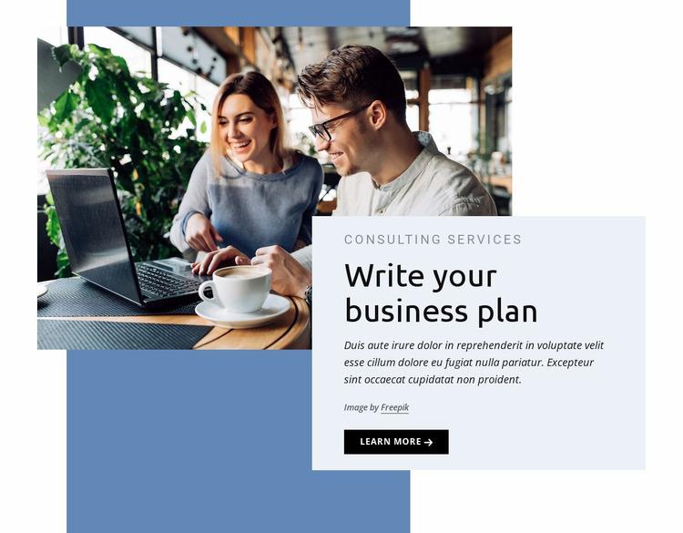 Write your business plan WordPress Website Builder