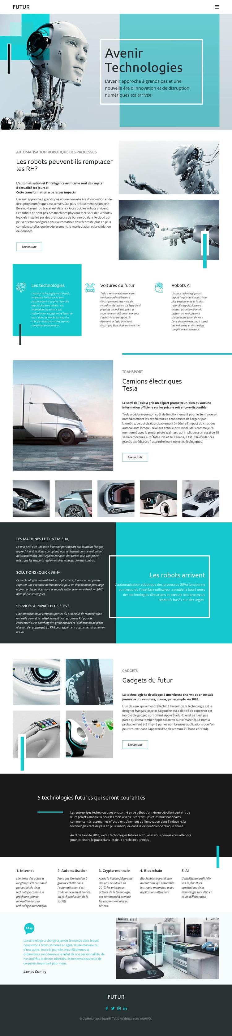 Technologie future Modèle de site Web