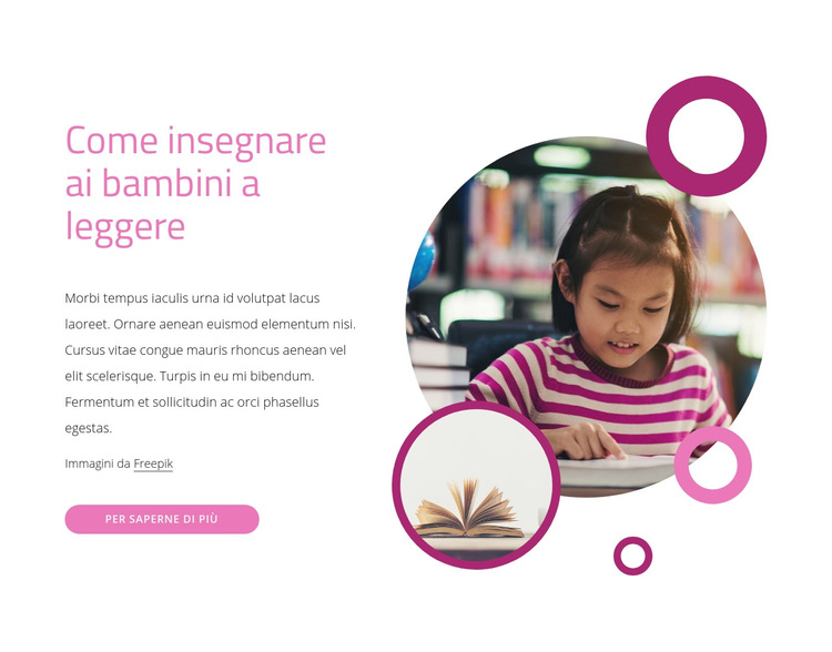 Come insegnare ai bambini a leggere Modello di sito Web