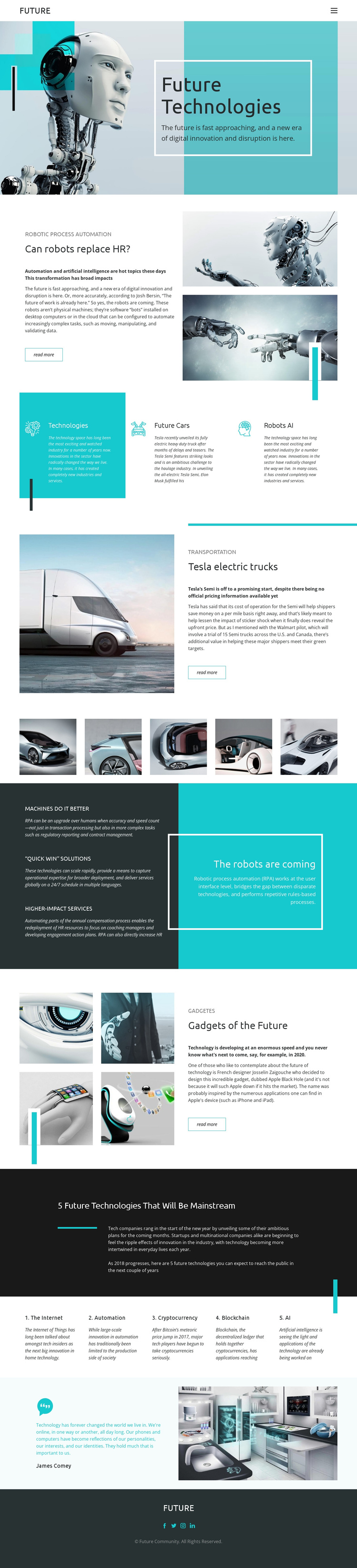 Future technology One Page Template