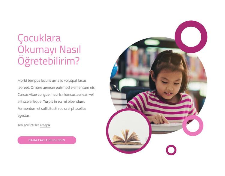 Çocuklara okumayı nasıl öğretirim Web Sitesi Şablonu