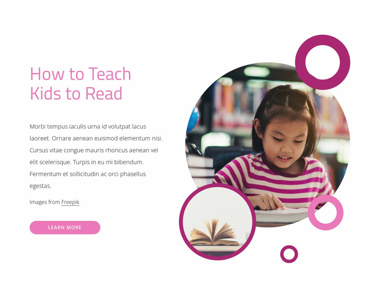 How to teach kids to read Website Mockup