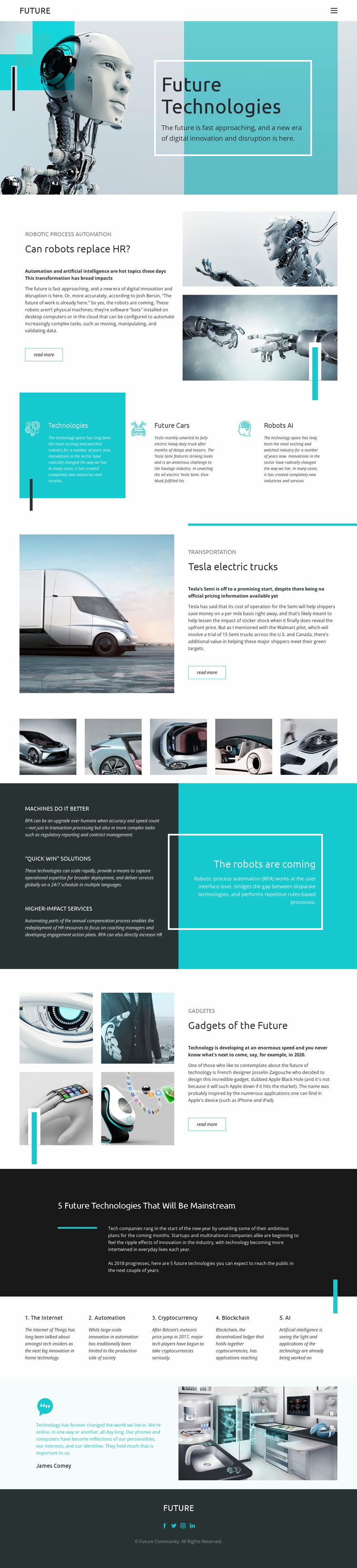 Future technology Website Mockup