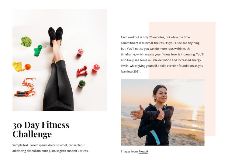 Fitness challenge HTML Template