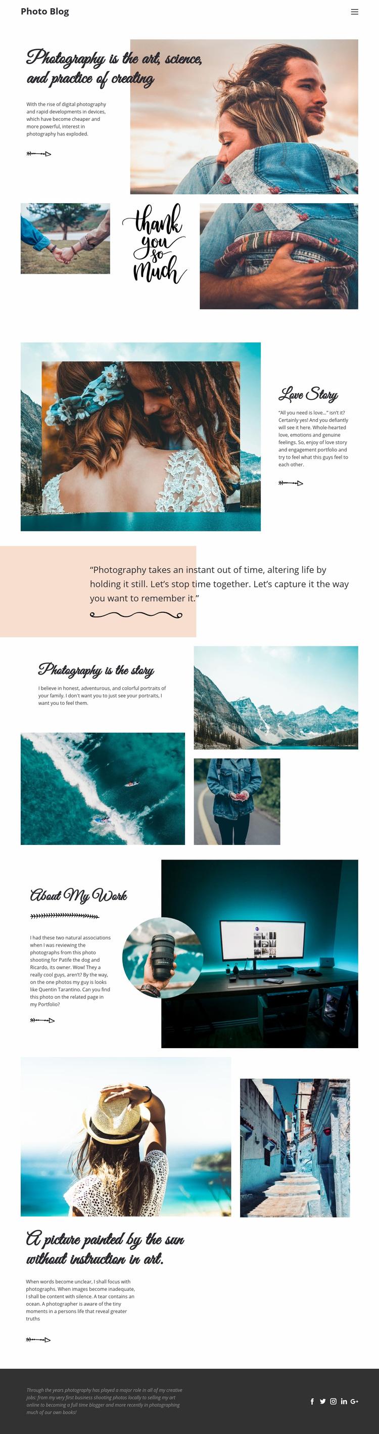 Creative Photography Web Page Designer