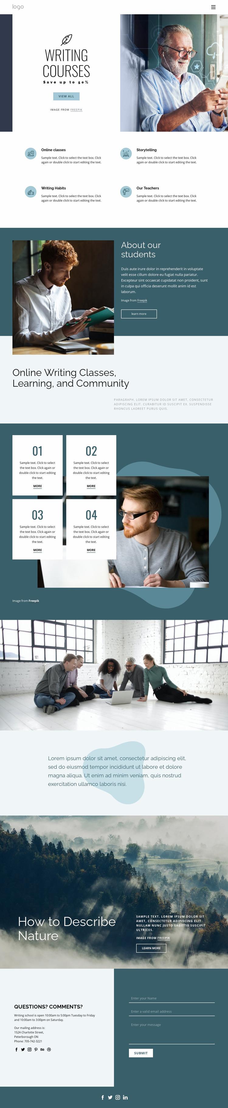 Creative writing courses Website Mockup