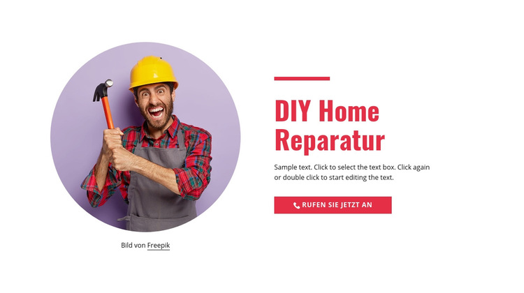 Schritt für Schritt Reparatur zu Hause Website-Vorlage