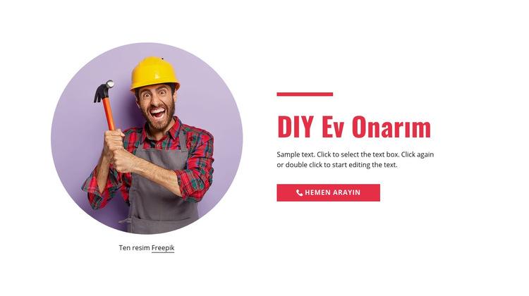 Adım adım evde onarım Web Sitesi Şablonu