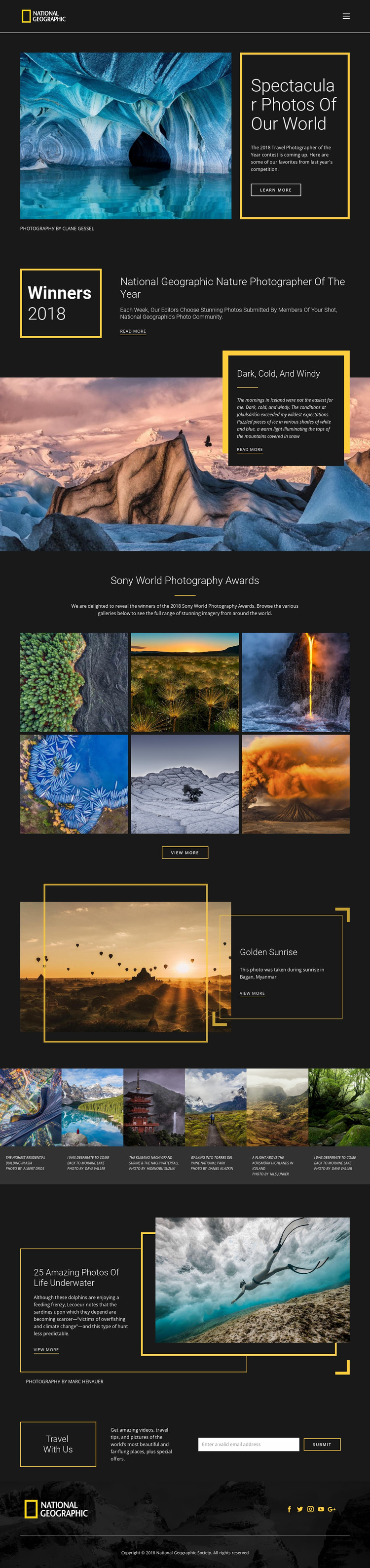 Pictures of nature Website Mockup