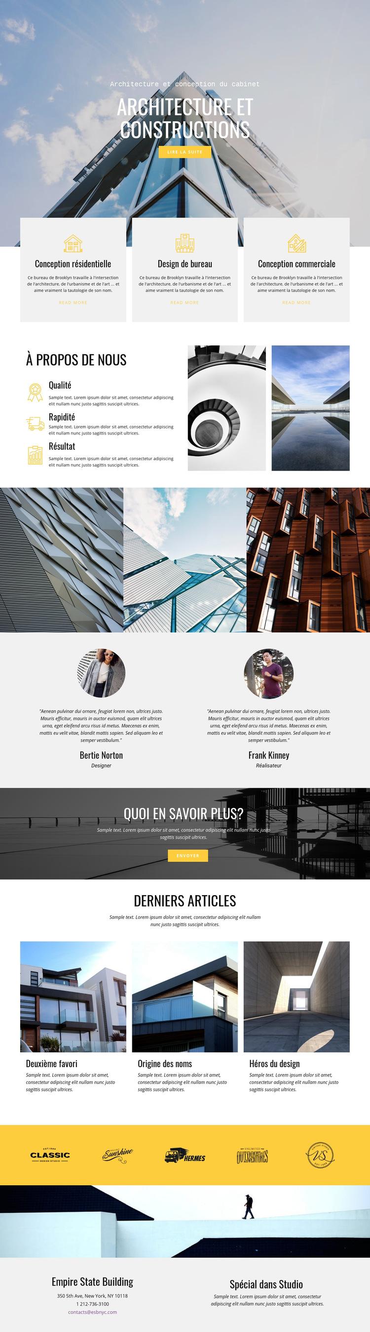 Architecture constructive Modèle de site Web
