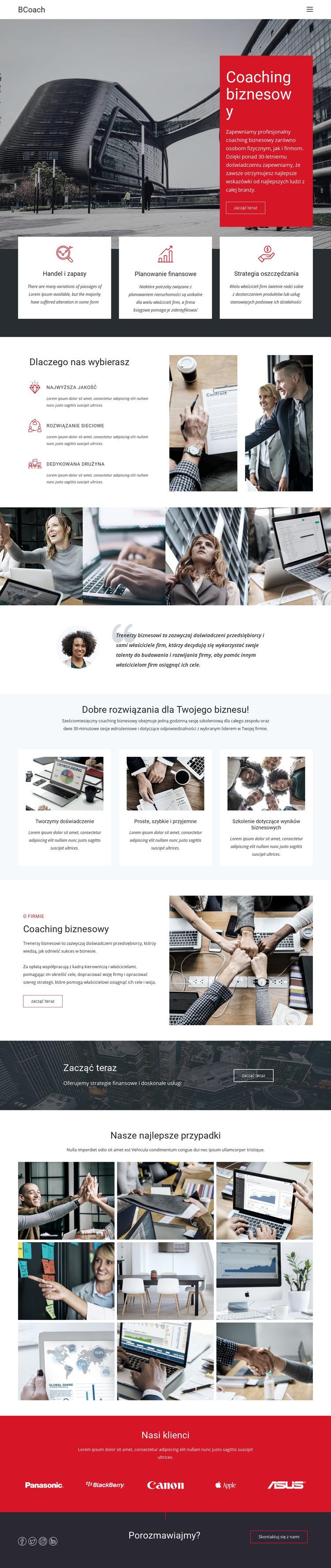 Coaching menedżerski Szablon witryny sieci Web