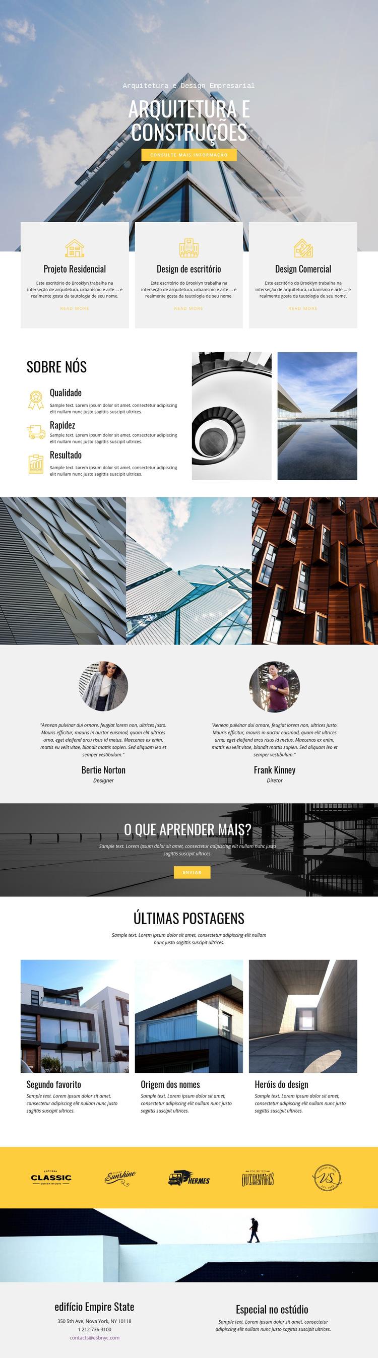 Arquitetura construtiva Modelo de site
