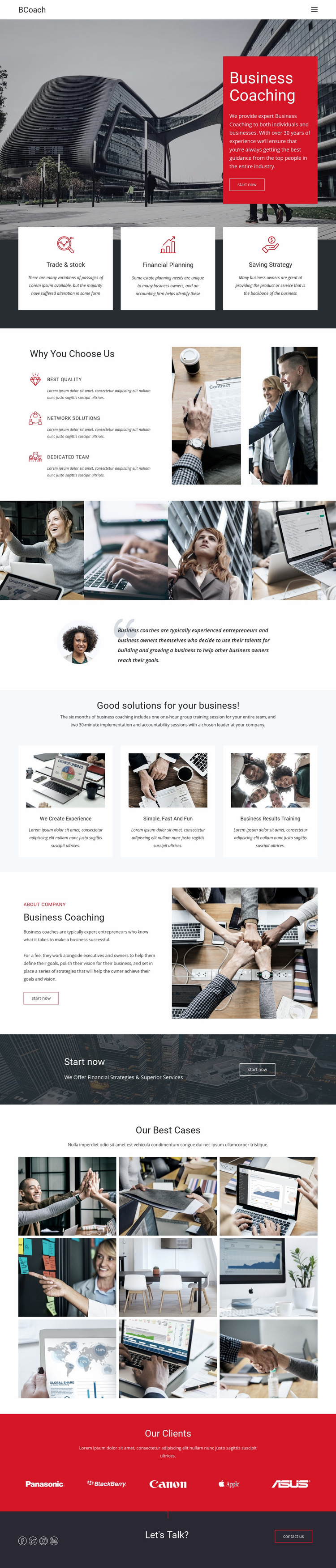 Executive coaching Web Page Design