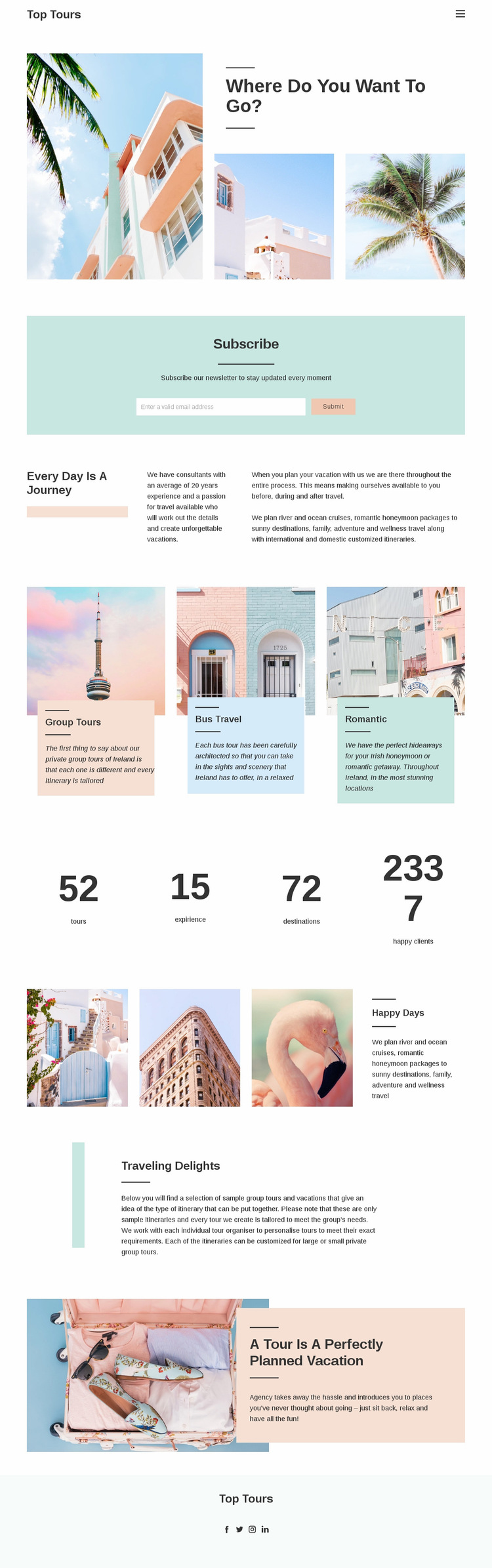 Future travel experience Web Page Design