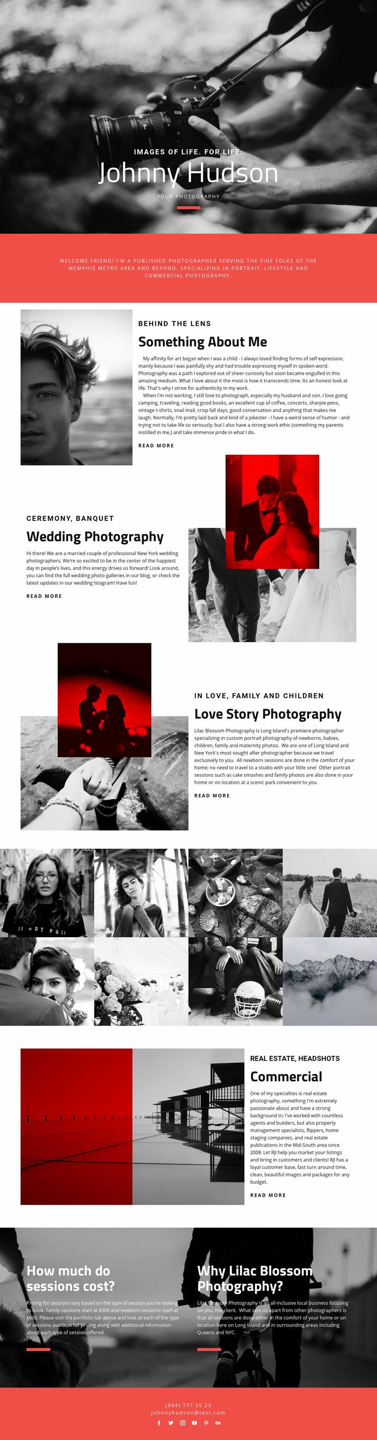 Photographer Web Page Designer
