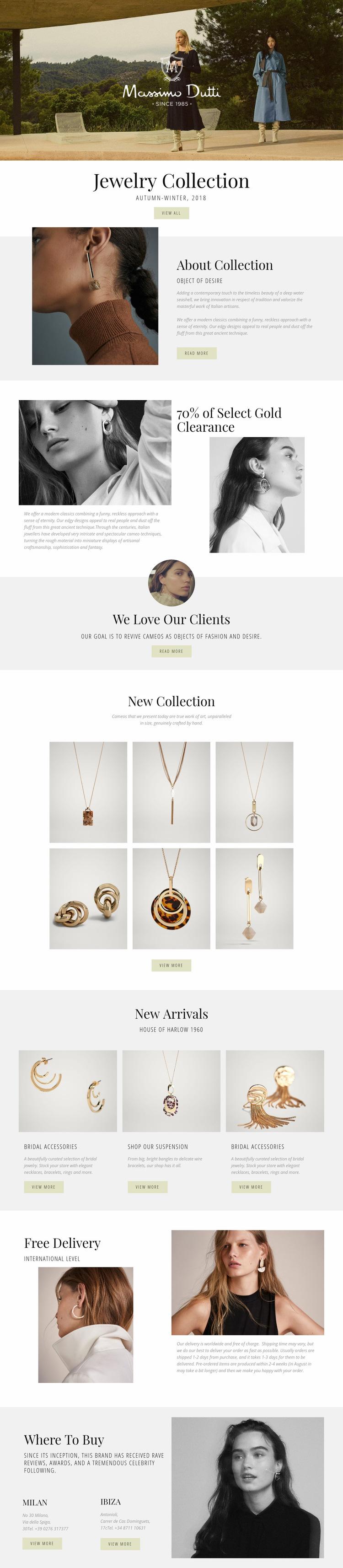 Massimo Dutti Web Page Design