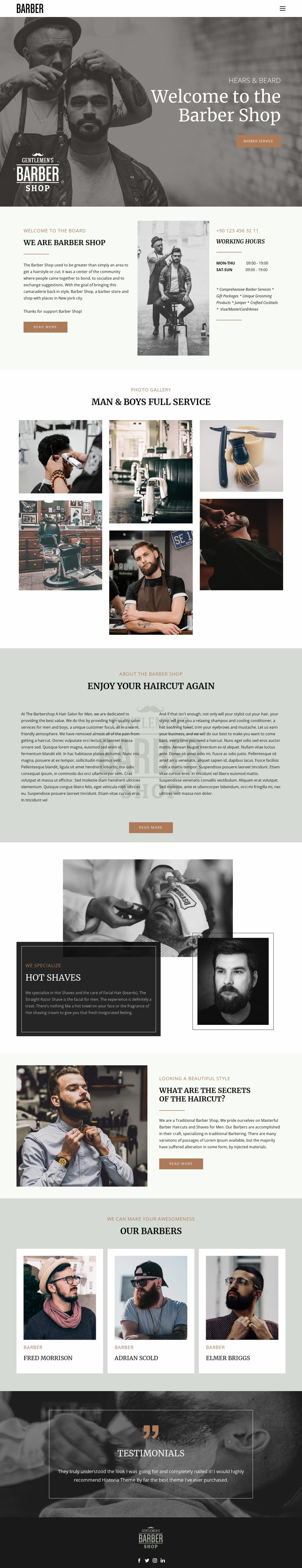 Quality haircuts and hairstyles  Website Mockup