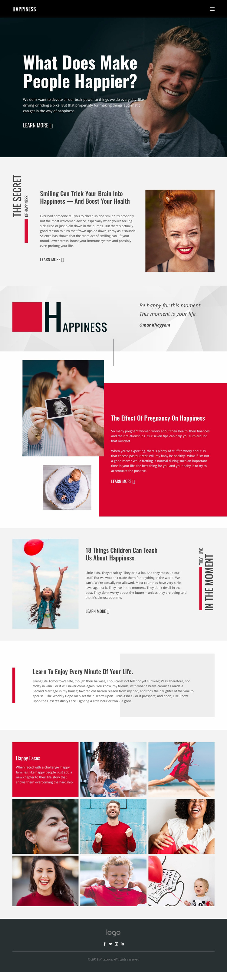 Happiness Web Page Design