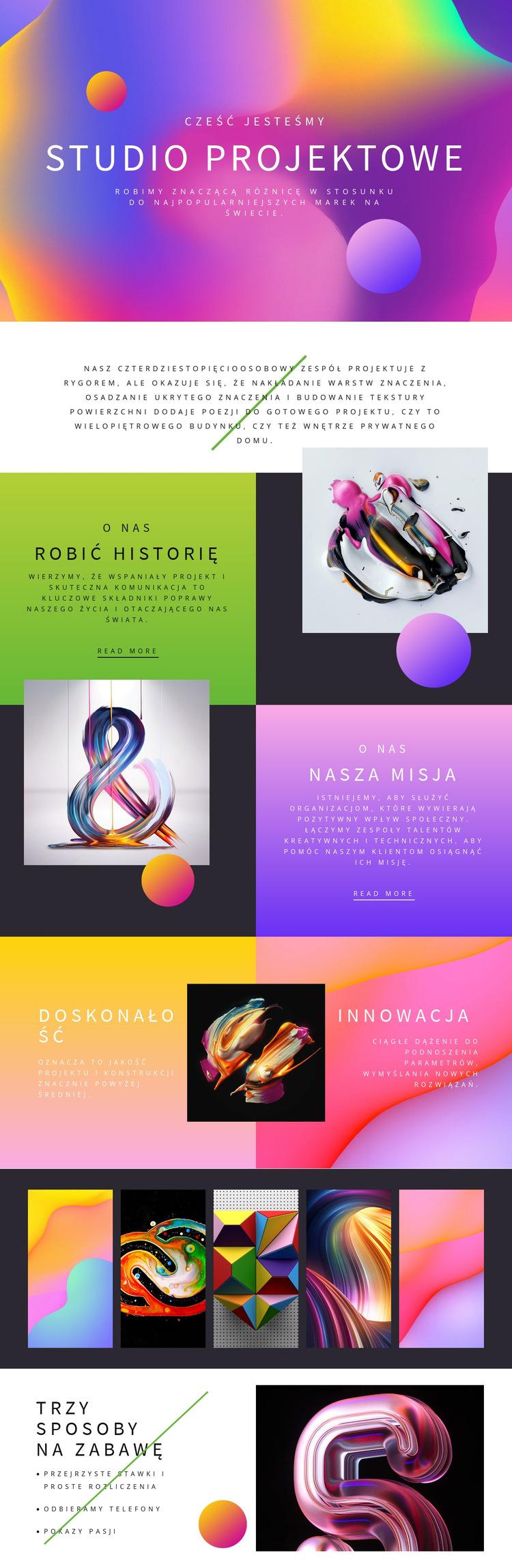 Progresywna sztuka projektowania Szablon witryny sieci Web
