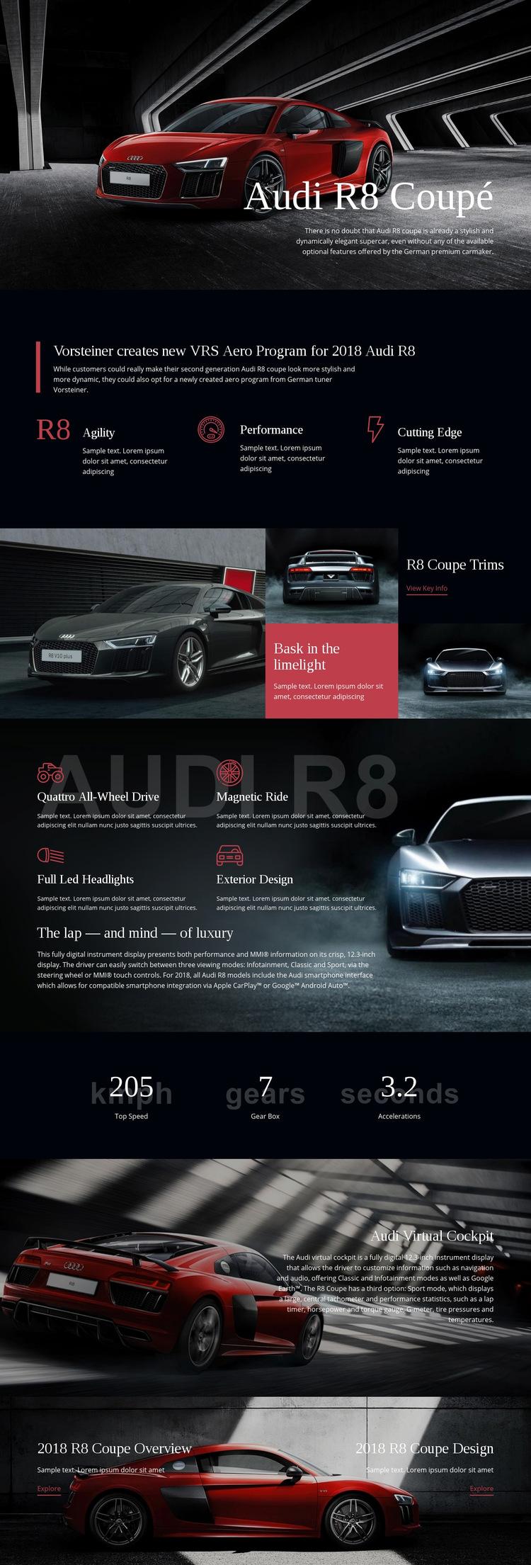 Audi aero program car Web Page Design