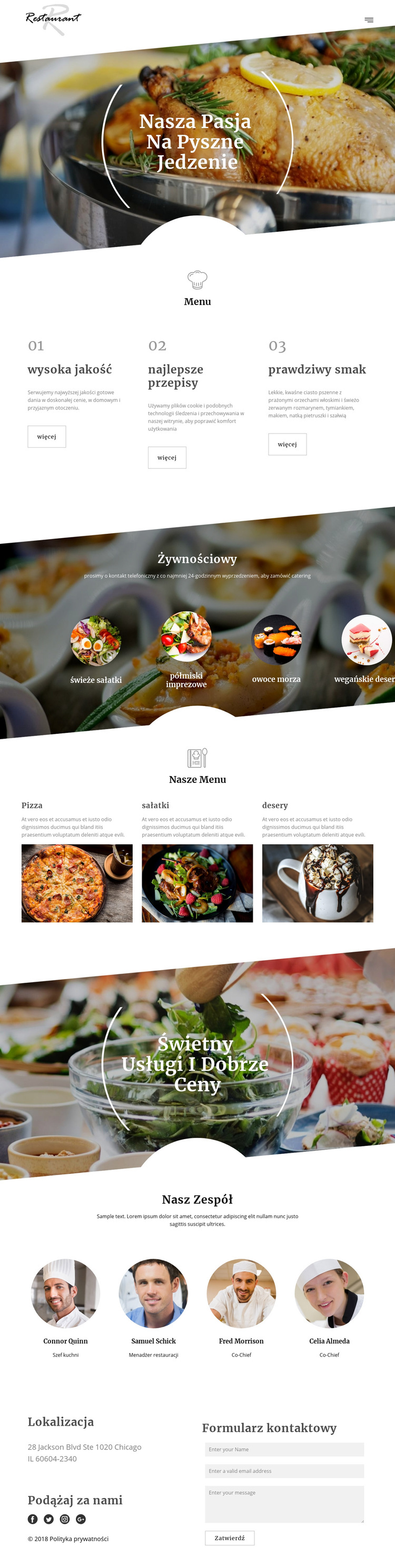 Przepisy szefa kuchni Szablon witryny sieci Web