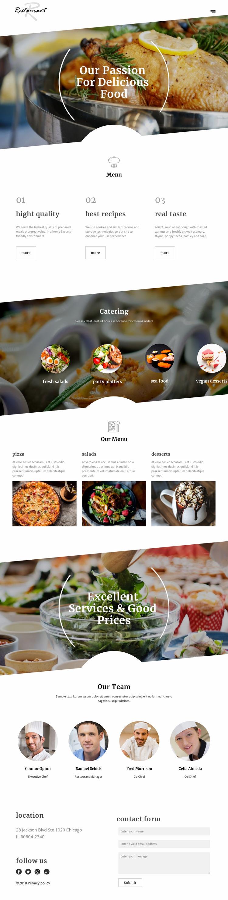 Executive chef recipes Website Mockup