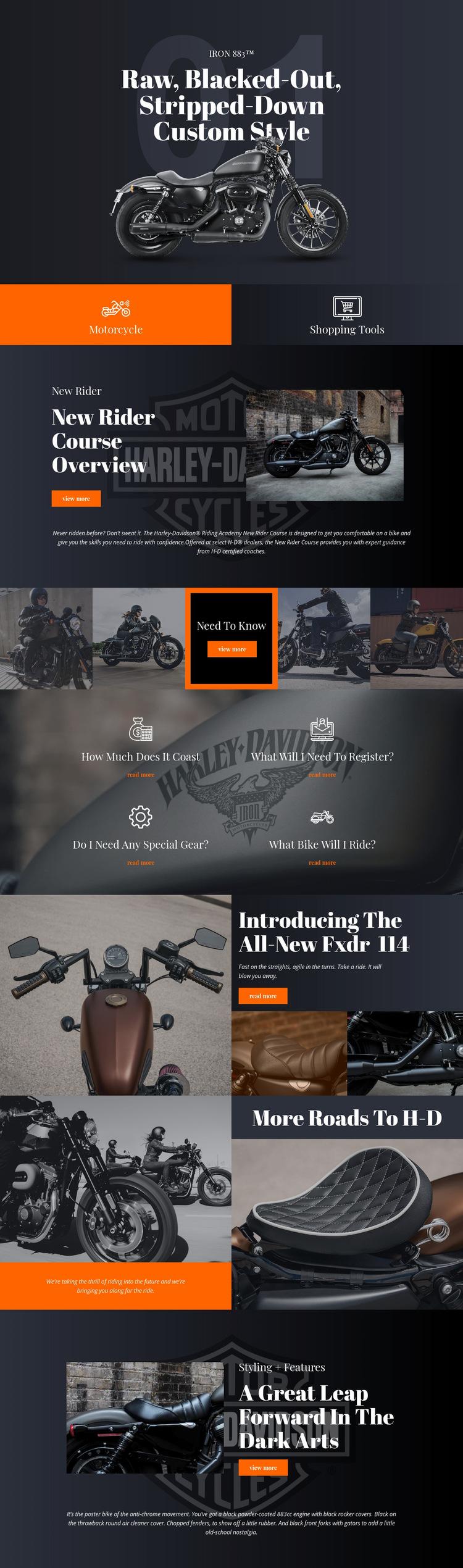 Harley Davidson Website Builder Templates