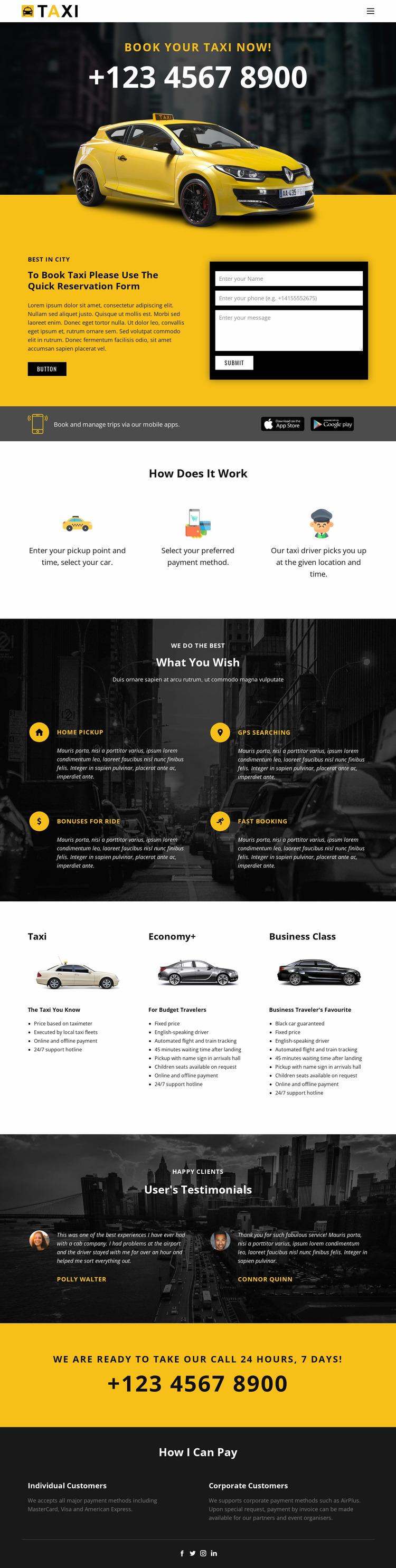 Fastest taxi cars Website Mockup