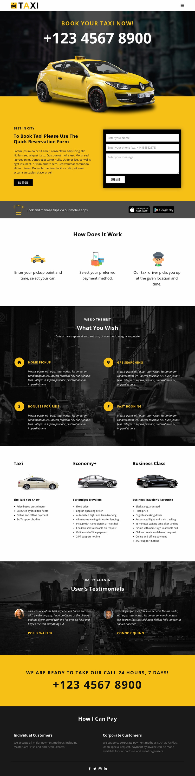 Fastest taxi cars Website Template