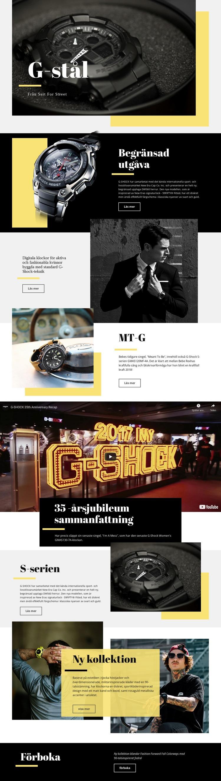 G-stål Webbplats mall
